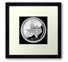 Texas, quarter, dollar, coin, 1845, 2004, State of Texas, American, America, USA, US Framed Print