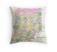 Vintage Map of Indiana (1827) Throw Pillow