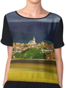 Beautiful colorful rural landscape with contrast areas of light and shadows, Alsace, France Chiffon Top