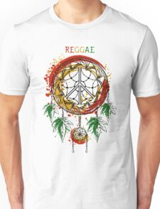 Dreamcatcher with cannabis leaves and peace symbol.  Unisex T-Shirt