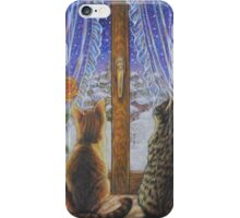 Cat Art - Cats Watching the Snow Fall iPhone Case/Skin