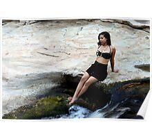 Hispanic Woman Waterfall Poster
