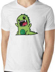 Cartoon comic dino dinosaur green Mens V-Neck T-Shirt
