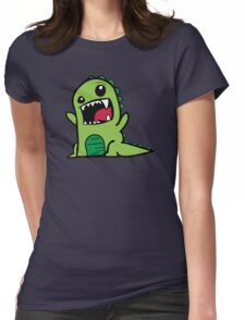 Cartoon comic dino dinosaur green Womens Fitted T-Shirt