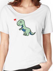Cartoon comic dino dinosaur green Women's Relaxed Fit T-Shirt