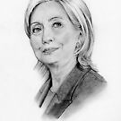 Hillary Clinton Pencil Portrait, Original Art by Joyce Geleynse