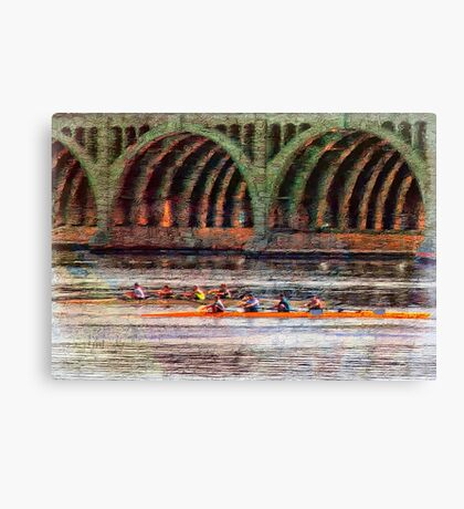 Rowing Under Hanover Street Bridge at Sunrise, Baltimore Canvas Print