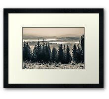 cold fog on hot sunrise in mountains Framed Print