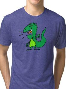 Cartoon comic dino dinosaur green Tri-blend T-Shirt