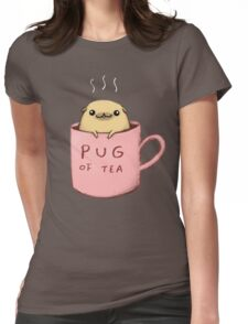 Pug of Tea Womens Fitted T-Shirt