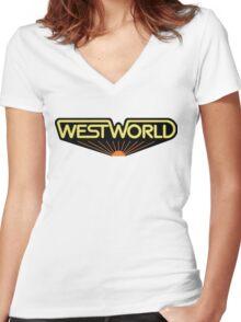 sticker westworld Women's Fitted V-Neck T-Shirt