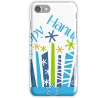 Happy Hanukkah Blue Green Gold and White iPhone Case/Skin