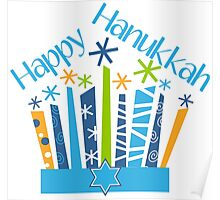 Happy Hanukkah Blue Green Gold and White Poster