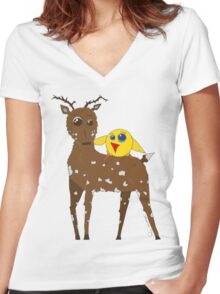 Diego the Deer and Yellow Bird Women's Fitted V-Neck T-Shirt