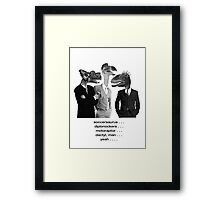 The Saurus Society - No Extinction Theory Conversation Framed Print