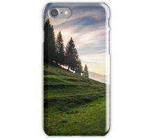 fir trees on meadow between hillsides in fog before sunrise iPhone Case/Skin