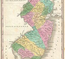 Vintage Map of New Jersey (1827) by BravuraMedia