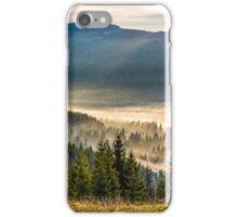 fog on hot sunrise in forest iPhone Case/Skin