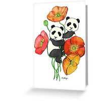 Poppies & Pandas Greeting Card