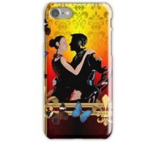 Tango dancers on red damask iPhone Case/Skin