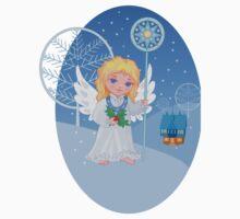 Christmas cute cartoon angel with blue star staff Kids Tee