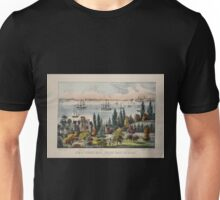 330 New York Bay from Bay Ridge Long Island Bedloes Island Jersey City Hoboken Castle Garden Governor's Island Unisex T-Shirt