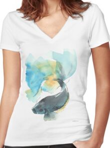 Blue and Yellow Beta Fish Women's Fitted V-Neck T-Shirt