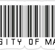 University of Maryland Barcode  Sticker