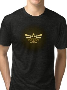 Hyrule Legend of  Zelda Link Crest triforce hylian shield Tri-blend T-Shirt
