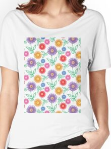 Colorful Modern Floral Pattern Women's Relaxed Fit T-Shirt