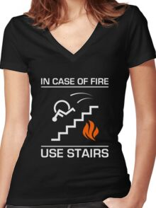 In Case of Fire Sign Women's Fitted V-Neck T-Shirt
