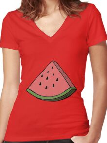 Pop Art Watermelon Women's Fitted V-Neck T-Shirt