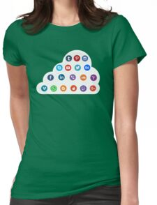 Social Media Cloud Icons Womens Fitted T-Shirt