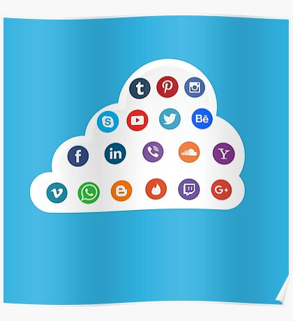 Social Media Cloud Icons Poster