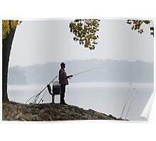 Fishing in fog Poster