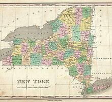 Vintage Map of New York (1827) by BravuraMedia
