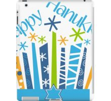 Happy Hanukkah Blue Green Gold and White iPad Case/Skin
