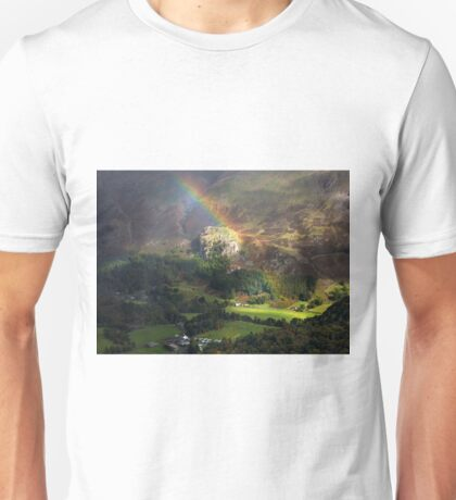 Rainbows End at Castle Rock in St Johns in the Vale Unisex T-Shirt
