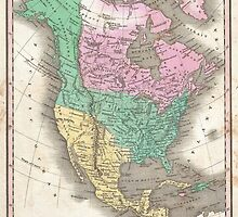 Vintage Map of North America (1827) by BravuraMedia
