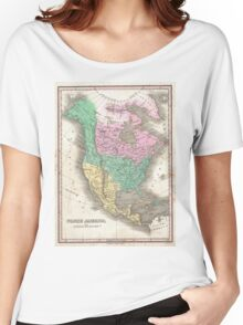 Vintage Map of North America (1827) Women's Relaxed Fit T-Shirt