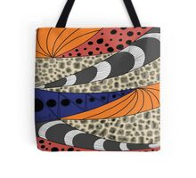 Curved Stripe with Dots Tote Bag