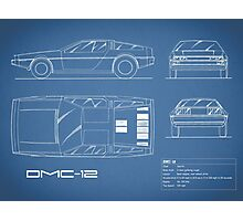 The DMC-12 Blueprint Photographic Print