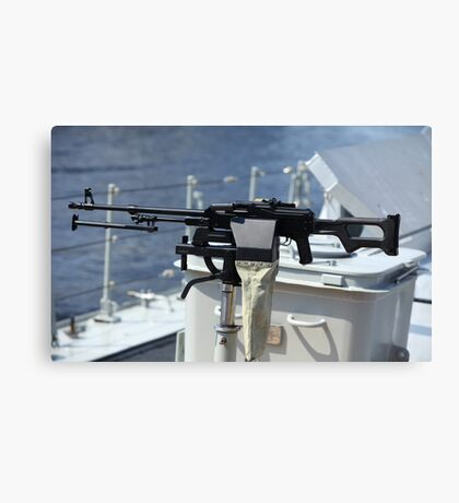 Machine gun on warship Canvas Print