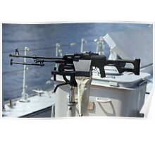 Machine gun on warship Poster