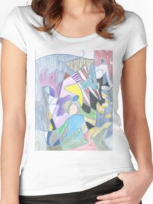 Abstract Color Doodle #30 Women's Fitted Scoop T-Shirt
