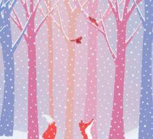 Fox - Snow - Trees - Cardinals Sticker