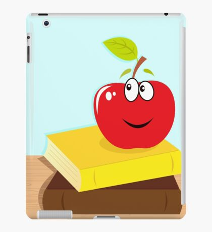 Back to school: books and red smiling apple character iPad Case/Skin