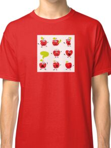 Funny red Apple fruit characters isolated on white background Classic T-Shirt
