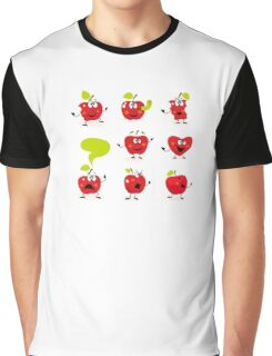 Funny red Apple fruit characters isolated on white background Graphic T-Shirt