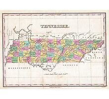 Vintage Map of Tennessee (1827) Photographic Print